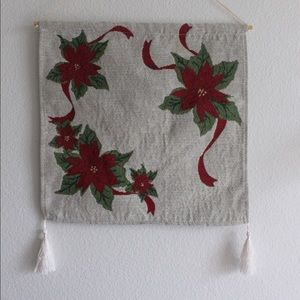 Christmas Tapestry Wall Hanging Decor Poinsettia